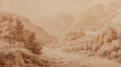 Mountain Drawing - View Of The Baths Of Lucca by Constant Bourgeois du Castelet