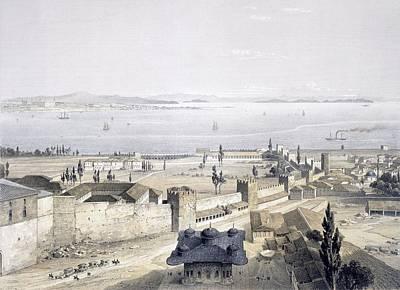 Coastal Drawing - View Of The Bosphorus From The Mosque by Gaspard Fossati