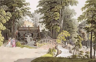 View Of The Cascade At Erlaw, Vienna Print by Laurenz Janscha