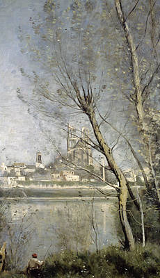 View Of The Cathedral And Town Through The Trees Print by Jean Baptiste Camille Corot