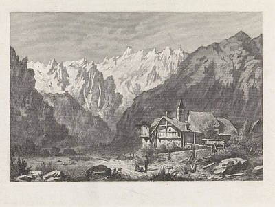 Ant Drawing - View Of The Col Du Gant, Chamonix-mont-blanc by Litz Collection