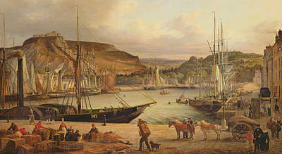 View Of The Commercial Port At Cherbourg Print by Theodore Deslinieres