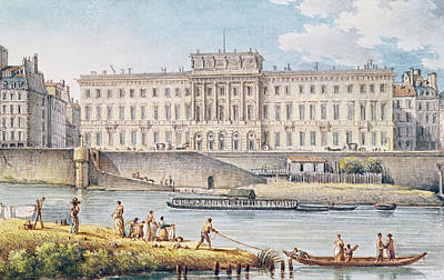 River Scenes Drawing - View Of The Hotel Des Monnaies At The Confluence Of The Two Branches Of The Seine  by Victor Jean Nicolle