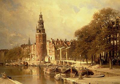 View Of The Kalk Market In Amsterdam Print by Johannes Karel Christian Klinkenberg