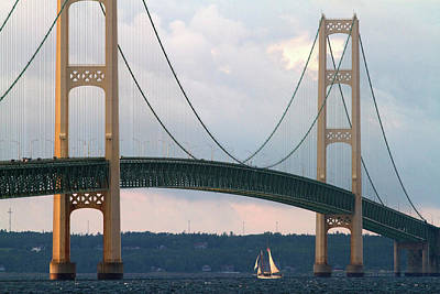 Mackinac Photograph - View Of The Mackinac Bridge Connecting by David R. Frazier