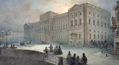 Snow . Bridge Painting - View Of The Mariinsky Palace In Winter by Vasili Semenovich Sadovnikov
