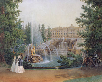 View Of The Marly Cascade From The Lower Garden Of The Peterhof Palace Print by Vasili Semenovich Sadovnikov