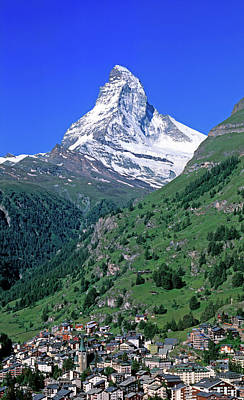 View Of The Matterhorn And The Town Print by Panoramic Images