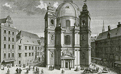Cathedral Drawing - View Of The Peterskirche, Vienna Engraved By Johann Bernard Hattinger by Salomon Kleiner