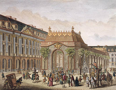 Garden Scene Drawing - View Of The Place De Louis Le Grand by French School
