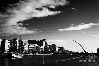 View Of The Samuel Beckett Bridge Over The River Liffey And The Convention Centre Dublin Republic Of Print by Joe Fox