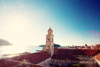 View Of The Sea In Dubrovnik Print by Erin Johnson