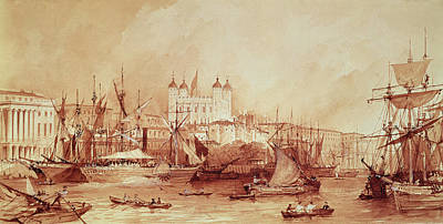 Custom House Tower Print featuring the drawing View Of The Tower Of London by William Parrott