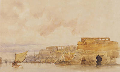 Coastal Drawing - View Of Valetta by James Holland