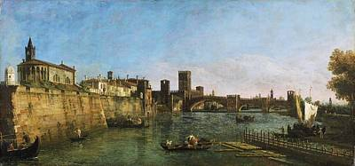 Philadelphia Drawing - View Of Verona With The Castelvecchio And Ponte Scaligero by Celestial Images