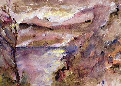 Abstract Impressionist Landscape Painting - View Of Walchen Lake by Lovis Corinth