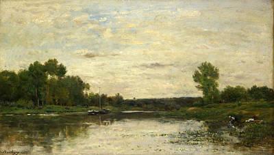 Daubigny Painting - View On The Oise by Charles-Francois Daubigny