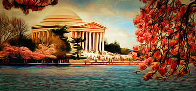 Jefferson Memorial Digital Art - View Through Cherry Blossoms by Anthony Caruso