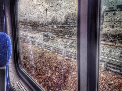 View Through Rainy Train Window Print by David Burk