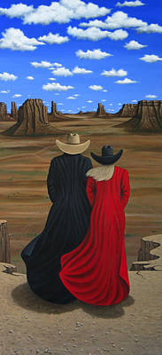 Contemporary Cowgirl Painting - View West by Lance Headlee