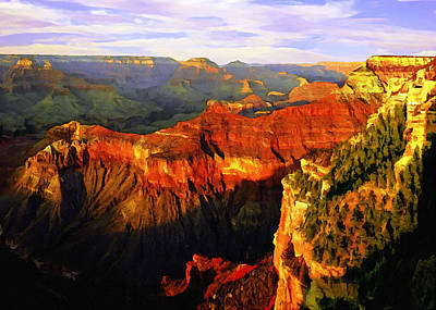 Grand Canyon Mixed Media - View - Yavapai Point by Bob and Nadine Johnston