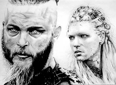 Lagertha Drawing - Vikings Ragnar And Lagertha by Mike Sarda