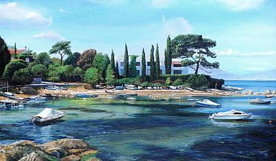 Villa And Boats, South Of France Oil On Canvas Print by Trevor Neal