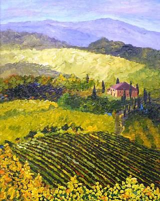 Italy Farmhouse Painting - Villa Toscana by Diane Arlitt