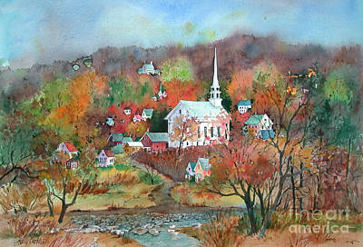 Village Church Print by Sherri Crabtree