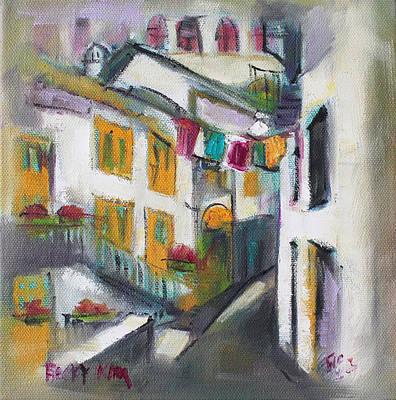 Becky Kim Artist Painting - Village Corner by Becky Kim