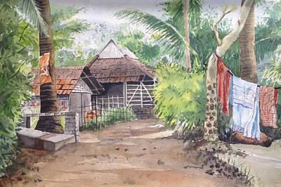 Laundry Painting - Village Home Near Kona West Bengal India by Sekhar Pal