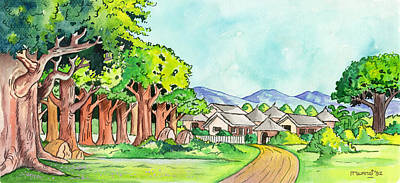 Village In The Forest Print by Anthony Mwangi