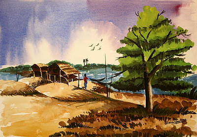 Kasana Painting - Village Landscape Of Bangladesh 2 by Shakhenabat Kasana