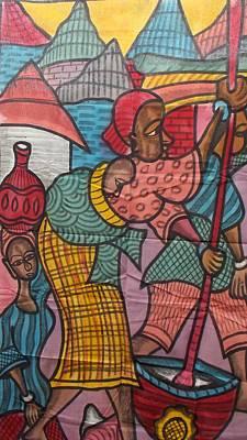 Village Life On Canvas Painting Print by Okunade Olubayo