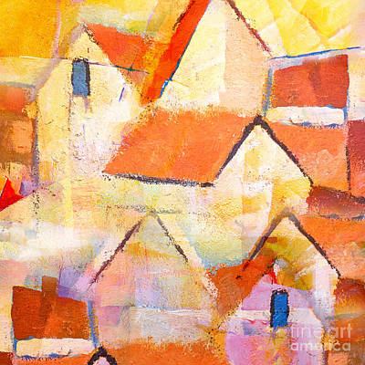 Abstract Seascape Painting - Village by Lutz Baar