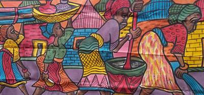 Village Scene Episode Two On Color Painting. Print by Okunade Olubayo