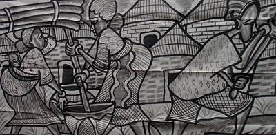 Village Scene Episode Two On Black And White Painting. Print by Okunade Olubayo