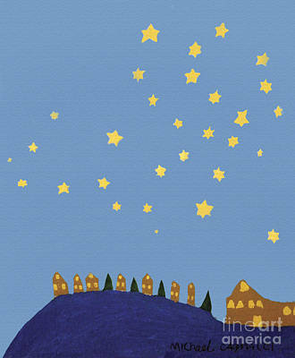 Village Starry Night Print by Michael Cagnacci