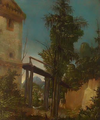 Footbridge Painting - Village Under The Bridge by Mountain Dreams