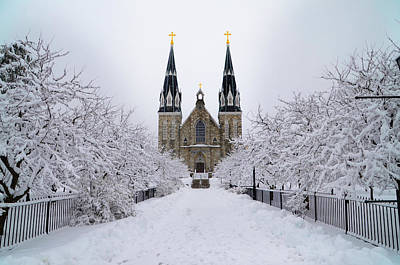 Snowy Digital Art - Villanova University In The Snow by Bill Cannon