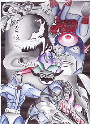 Cyclops Drawing - Villians And Heroes by Tasha Clarke