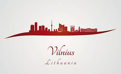 Vilnius Digital Art - Vilnius Skyline In Red by Pablo Romero