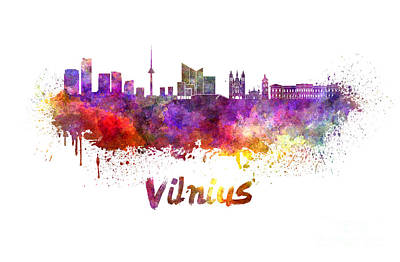 Vilnius Painting - Vilnius Skyline In Watercolor by Pablo Romero