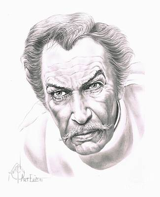 Famous People Drawing - Vincent Price by Murphy Elliott