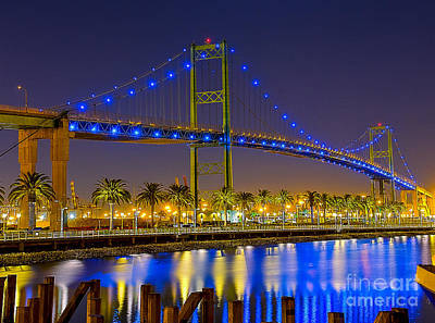 Vincent Thomas Bridge - Nightside Print by Jim Carrell
