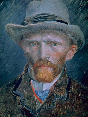 Lapel Painting - Vincent Van Gogh Self-portrait Bust With Brown Jacket And Gray Hat by Vincent Van Gogh