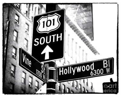 Vine And Hollywood Print by John Rizzuto