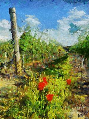 Food And Beverage Painting - Vineyard And Poppies by Dragica  Micki Fortuna