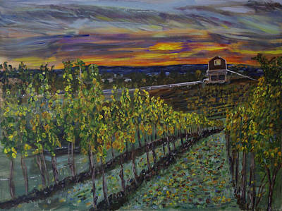Vineyard At Sunset Print by Rex Maurice Oppenheimer