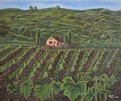 Vineyard In Neuchatel Print by Felicia Tica